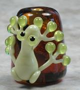 Green Frog on Silver Amber Cone