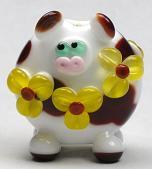 Brown & White Floral Lentil Cow