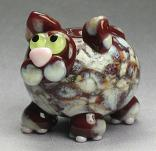 Brown & Silvered Ivory Frit Cat