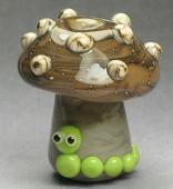 Organic Mushroom with Caterpillar