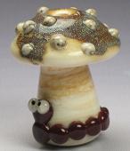 Silvered Ivory Mushroom & Caterpillar