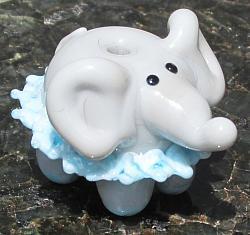 Grey Ballerina Elephant in Blue